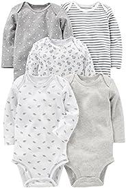 Simple Joys by Carter's Unisex-Baby 5-Pack Neutral Long-Sleeve Bodysuit Unders