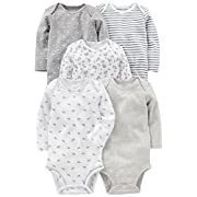 Simple Joys by Carter's Baby 5-Pack Long-Sleeve Bodysuit, Gray/White, 0-3 Months