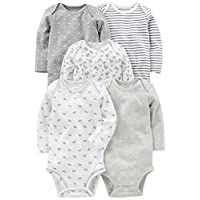 Simple Joys by Carter's Unisex Baby 5-Pack Long-Sleeve Bodysuit, Grey/White, ...