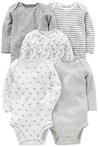 Simple Joys por Carter 's Baby 5-Pack Body de manga larga, Gris/Blanco, 0-3 Months