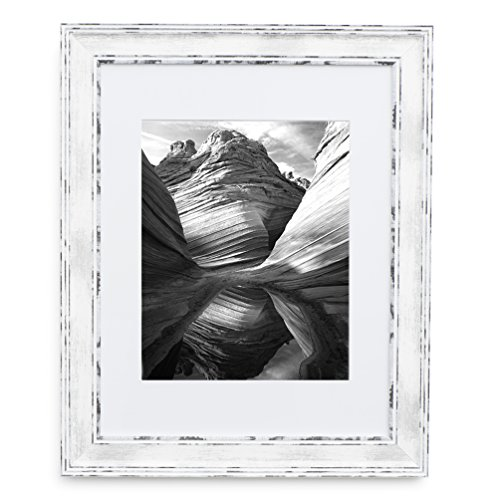 11x14 Picture Frame Distressed White - Matted to 8x10, Frames by EcoHome ()