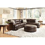 Nouveau Top Grain Leather Sectional and Ottoman - Oyster Grey  sc 1 st  Amazon.com : top grain leather sectionals - Sectionals, Sofas & Couches