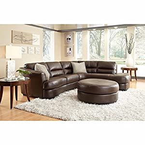 nouveau top grain leather sectional and ottoman oyster grey