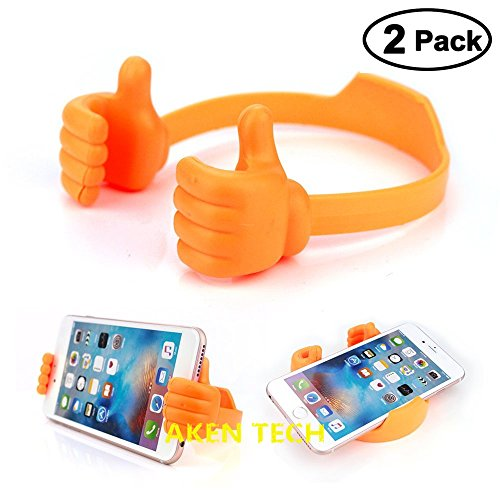 Creative Thumbs-up Phone Stand for Tablets, E-readers and Smart Phones Multi-angle Cute TPU Plastic Universal Flexible Mobile Cell Phone Holder, TPU Plastic Phone Desktop Display Stand (Orange) (Creative Stand)