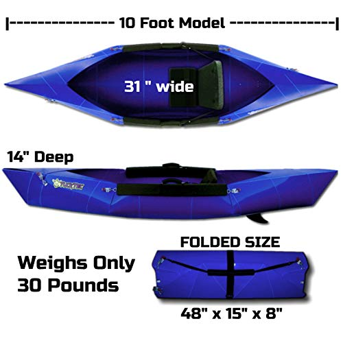 Tucktec Folding Kayak   10 ft. Hard Shell Foldable Kayak. Stores Anywhere and Sets up in 2 Minutes. Fold up Portable Kayak fits in The Trunk of a car. No roof Rack No Storage (Blue)
