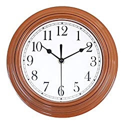Foxtop Kitchen Wall Clock, Silent Non Ticking 9 Inch Battery Operated Quartz Analog Quiet Easy to Read Clock for Kitchen, Home Decor