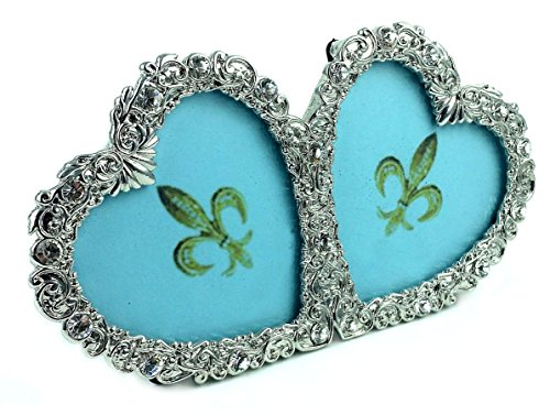 Two Hearts Picture Frame, 3 X 3, Hand-Crafted Silver Metal, Molded with Swarovski Crystal Jeweled - Diamond Genuine Gift Box Sterling