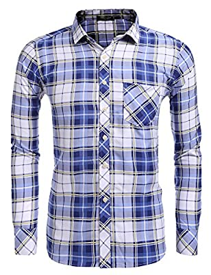 Zuckerfan Men's Hipster Plaid Casual Slim Fit Long Sleeve Button Down Shirts