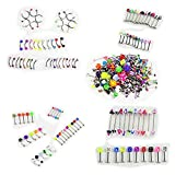 HonsCreat 110 PCS Body Jewelry Piercing Eyebrow Navel Belly Tongue Lip Bar Ring 22 Styles