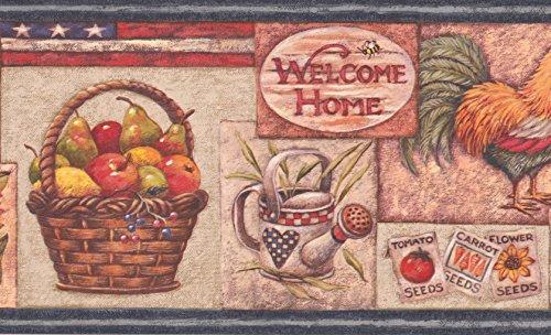 American Flag Rooster Fruit Basket Sunflower Watermelon Birdhouse Kitchen Wallpaper Border Retro Design, Roll 15' x 7'' (Watermelon Basket Designs)