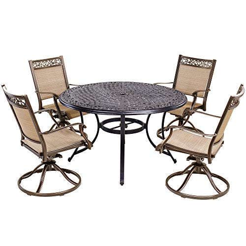 ining Set Outdoor Furniture, Aluminum Swivel Rocker Chair Sling Chair Set with 48 inch Round Alum Casting Table ()