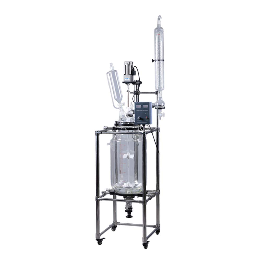 HNZXIB Double-Layer Cylindrical 5L Glass Jacket Type Reactor Chemical Reaction Unit