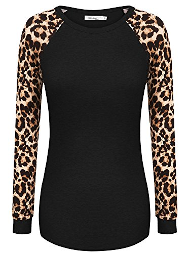 Meaneor Women's Casual T-shirt Long Sleeve Leopard Print Blouse Black S