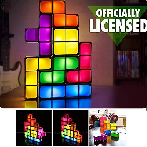 Tetris Stackable Toy Light,Puzzles Fun Toy lamp,7 Colors Magic Induction Interlocking Blocks,DIY Tetris Tangram Light,Kids Toy DIY Gift