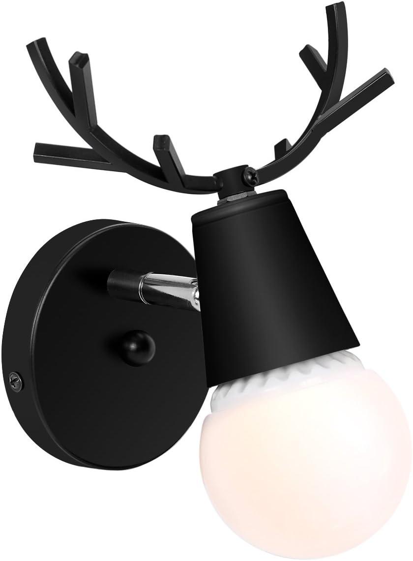 KAWELL Creativo Apliques de Pared Moderno Luz de Pared Sencillo Lámpara de Pared E27 Estilo Cabeza de Ciervo Nórdico Art Deco para Dormitorio, Sala de Estar, Niños, Pasillo, Escaleras, Negro