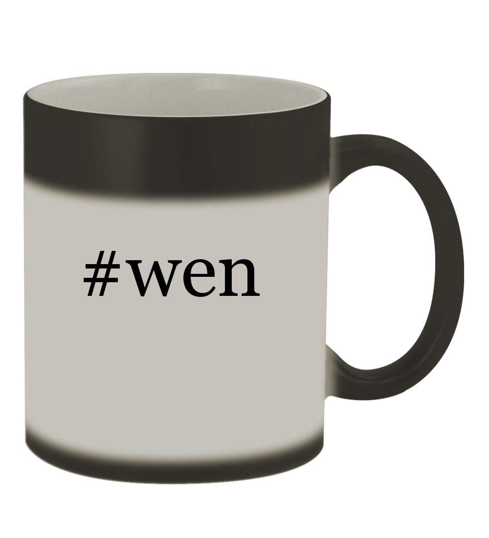 #wen - 11oz Color Changing Hashtag Sturdy Ceramic Coffee Cup Mug, Matte Black