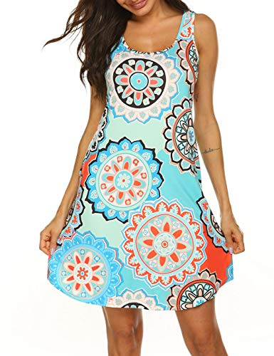 (Sun Dresses for Women Casual Beach Plus Size Tribal Print Tank Dress with Pockets Floral Pattern 2)