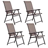 Deck Chairs Giantex Set of 4 Patio Folding Sling Chairs Furniture Camping Deck Garden Pool Beach