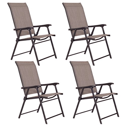 (Giantex Patio Folding Sling Chairs Furniture Camping Deck Garden Pool Beach (Set of 4))
