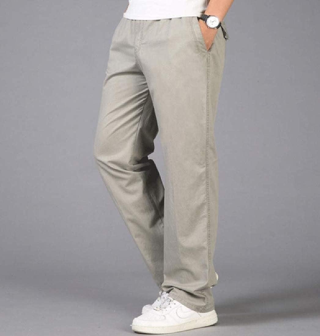 Yingshif Men Work Wear Oversized Casual Trousers Elastic Waist Cargo Pants