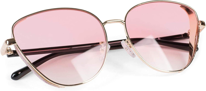 styleBREAKER gafas de sol de mujer de ojos de gato con elemento brillante en las lentes, montura de metal y lentes de policarbonato, forma de ojos de gato, «look retro» 09020104
