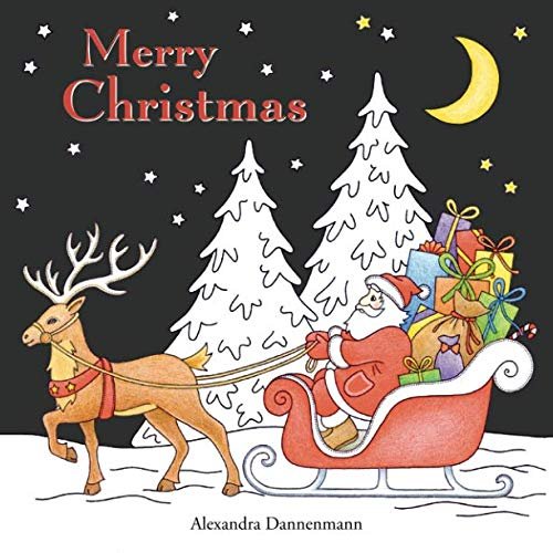 Merry Christmas: a beautiful colouring book with Christmas designs on a black background for gloriously vivid colours Merry Christmas Christmas designs on a black background