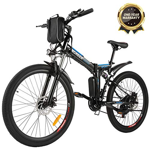 ANCHEER Folding Electric Mountain Bike, 26'' Electric Bike with 36V 8Ah Lithium-Ion Battery, Full Suspension in USA