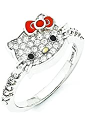 Sterling Silver Hello Kitty Crystal/Enamel Red Bow Collection Ring - Size 6