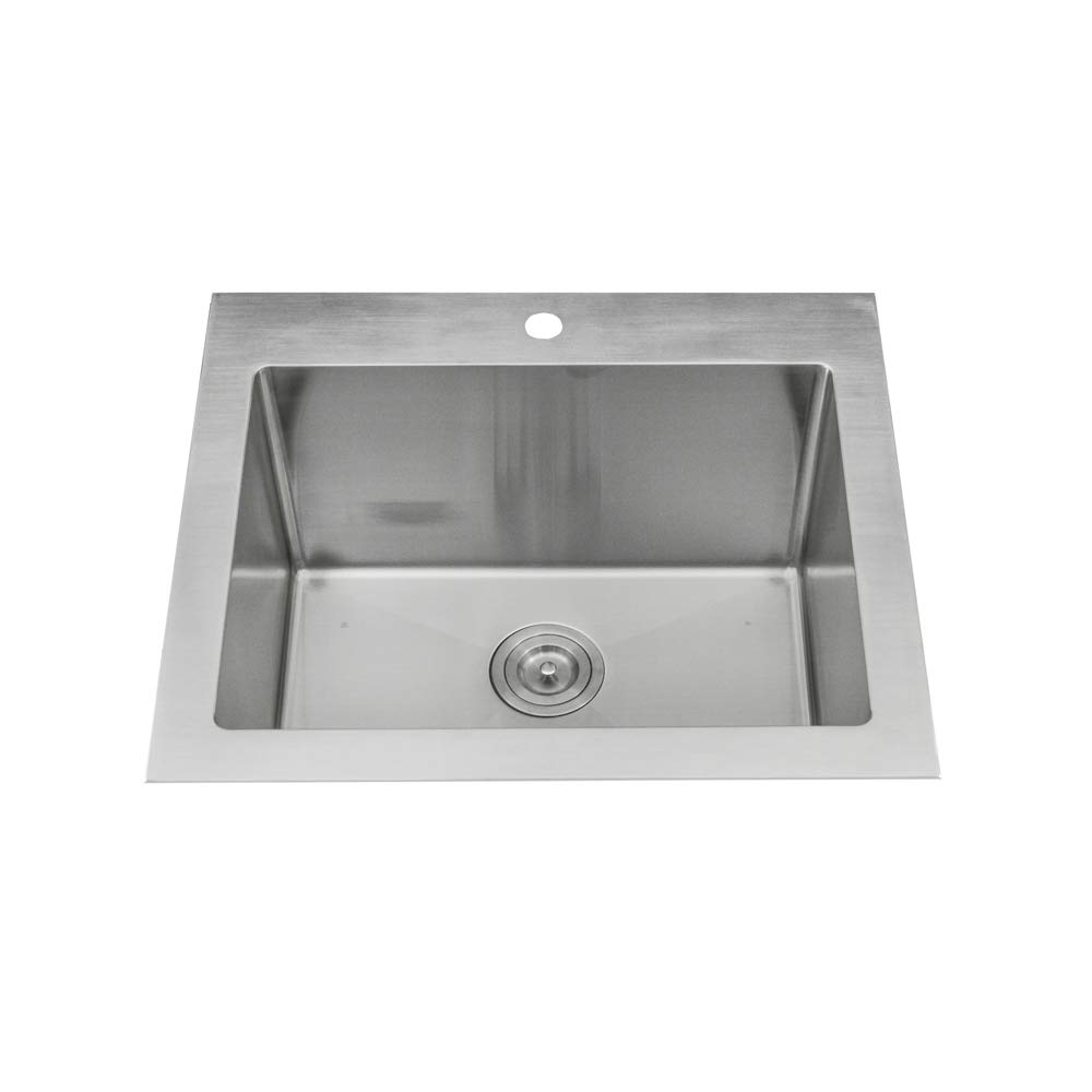 KABCO Stainless Steel Utility Laundry Sink Top Mount or Undermount Single Bowl 25 inch wide 12 inch deep 25'' X 22'' X 12'' Package by KABCO