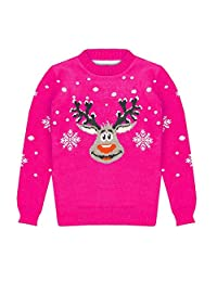 Unisex Kids Rudolf Red Nose Snowflake Christmas Xmas Retro Novelty Knitted Jumper