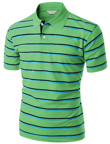 Green Striped Polo Shirt - Men's 180-200 TC Silket Striped Polo Dri Fit Collar T-Shirt GREEN M