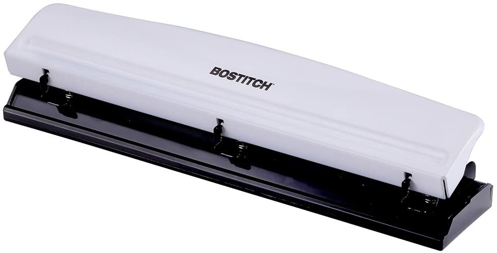 Bostitch 3 Hole Punch, 12 Sheets, White (KT-HP12-WHITE)