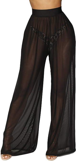 Awoscut Women See Through Sheer Mesh Pants