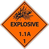 DL88ALV National Marker Dot Shipping Label, Explosive 1.1A, 1, 4 Inches x 4 Inches, Ps Vinyl, 500/Roll