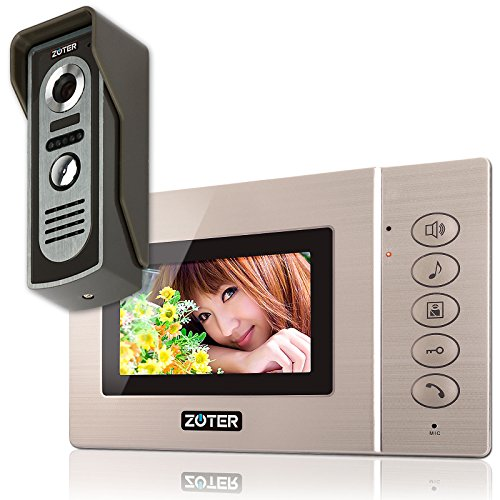 "ZOTER SECURITY Wired 4.3"" inch TFT LCD Screen Mini Size Video Door Phone Intercom Doorbell House Gate Entry Security System Kit Night Vision Metal 600TVL Camera"
