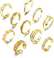 Florideco 10PCS Adjustable Toe Rings Set Vintage Flower Wave Arrow Tail Band Open Ring for Women Foot Jewelry