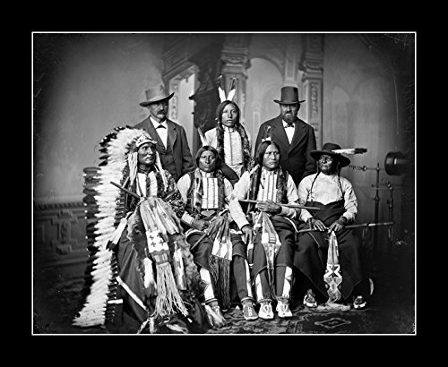 8 x 10 All Wood Framed Photo Native Americans, Sioux Indians, Joe Merrivale, Young Spotted Tail, Antoine Janis, Touch-The-Clouds, Little Big Man, Black - Celebrity Spotted