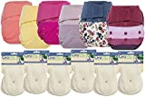 GroVia Hybrid Part Time Package: 6 Shells + 12 Organic Cotton Soaker Pads (Color Mix 8 - Hook & Loop)