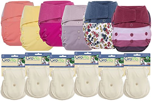 GroVia Hybrid Part Time Package: 6 Shells + 12 Organic Cotton Soaker Pads (Color Mix 8 - Hook & Loop) by GroVia
