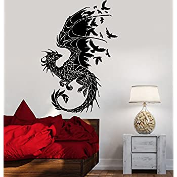 Amazoncom Newclew Dragon Removable Vinyl Wall Decal Home Décor - Custom vinyl wall decals dragon