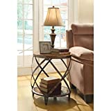 Black Drum Side Table Metal Accent Table with Drum Shape Brown