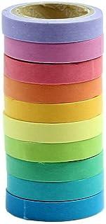 Spaufu 10x décoratifs Bande solide coloré papier autocollant Rouleaux de ruban de masquage pour Bullet Journal Album scrapbooking DIY Craft Cadeau