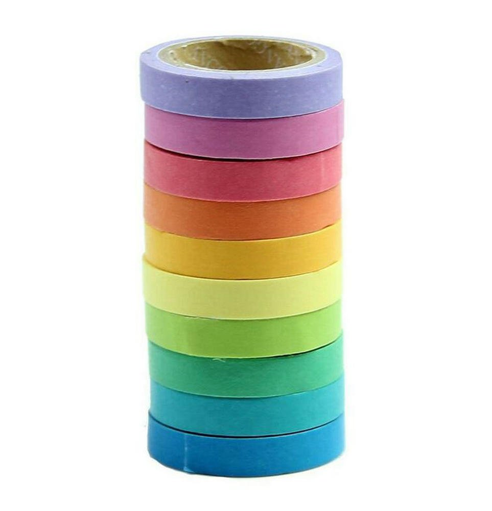 Spaufu 10x rotoli di nastro decorativo solido luminoso colorato carta adesiva mascheratura per Bullet Journal album scrapbook fai da te artigianale confezione regalo
