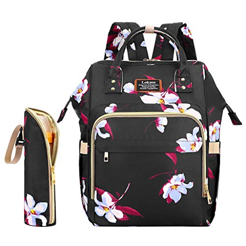 Baby Diaper Bag Backpack,Crytech Floral Waterproof Large Capacity Multifunction Handsfree Maternity Nappy Bag with Stroller Straps and Insulated Bottle Pocket for Mom Dad Outdoor Travel (A)
