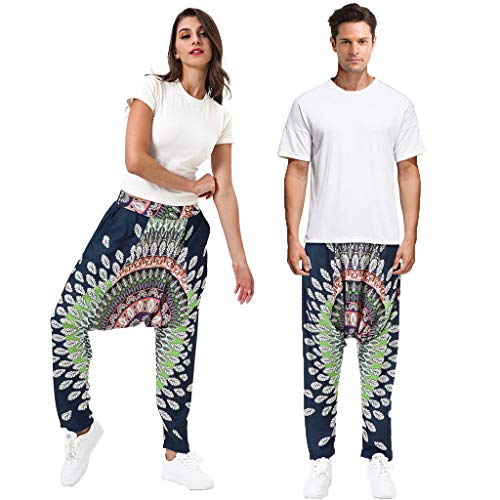 JOFOW Unisex Harem Pants Ethnic Flowers Floral Pattern Print Funny Costume (XL,Navy & Green)