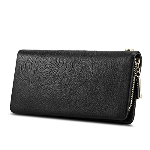 Kattee Soft Cowhide Leather Wallet Ladies Flower-embossed Clutch (Black)