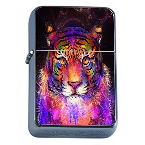 (Psychedelic Animal Tiger Flip Top Oil Lighter Em1 Smoking Cigarette Silver Case Included)