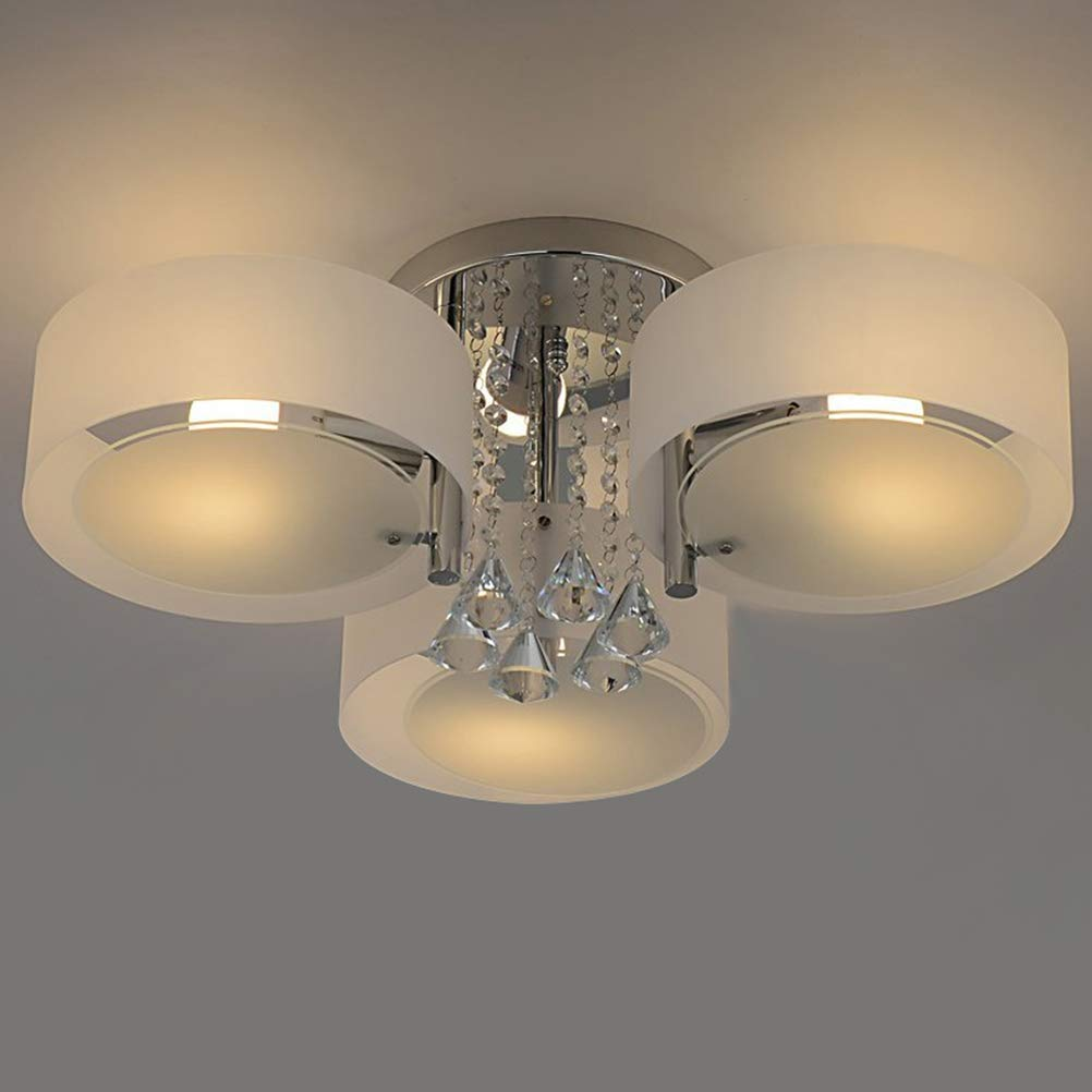 Joecoster flush mount ceiling lights crystal chandelier ceiling lamp 3 light modern ceiling lighting fixture for dining room living room bedroom