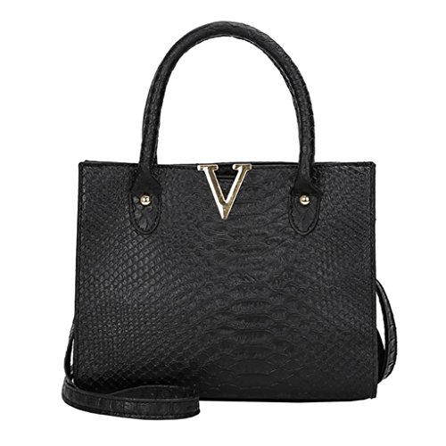 YJYdada Woman Crossbody Bags Leather Handbag Alligator Pattern Shoulder Bag (Black)