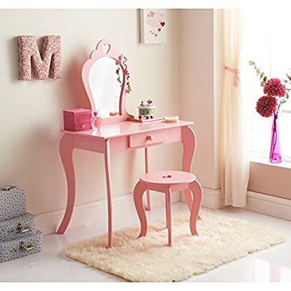 Kids Vanity Set Princess Dressing Table Set Wooden Dresser